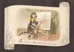 W24 - VICTORIAN CHRISTMAS CARD - CAT PAINTING - HELENA MAGUIRE - SHAPED DIECUT