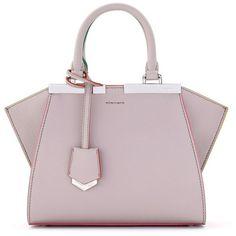 Women's Fendi 'Mini 3Jours' Calfskin Leather Shopper ($2,450) ❤ liked on Polyvore featuring bags, handbags, tote bags, bolsas, grey powder, mini handbags, grey tote, mini tote bags, grey purse and gray purse