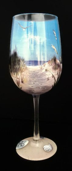 Beach Wine Glass Hand Painted Sand Dune by LKCustomCreations