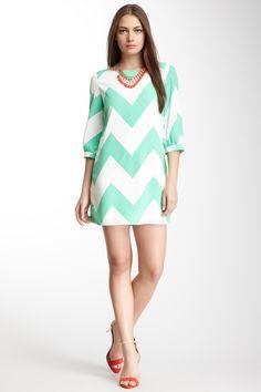 Pink Owl Chevron Stripe Dress