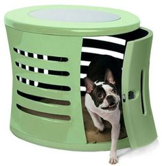 Zen Haus Luxury Pet Home End Table -Mint is hand crafted in durable beautifull fiberglass and comes with a removable glass top.