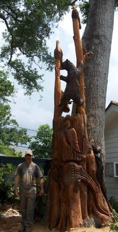 Bear and Bird- Chain Saw Artist, Dayton Scoggins