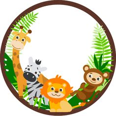 Round magnet with jungle animals Magnet customizable with your photo The frame is in the round shape with lion, giraffe, zebra and monkey from .