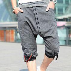 la manera ocasional del verano de los hombres recortada pantalones cortos del harem (número de botón al azar) – USD $ 24.49