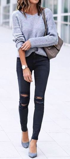 #fall #outfits  women's gray sweater and black jeans