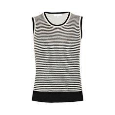 Paule Ka Knitted Vest ($140) ❤ liked on Polyvore featuring outerwear, vests, black, reversible vest, sleeveless vest, vest waistcoat, sleeveless waistcoat and cotton vest
