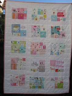Cute quilt.  I like the blocks and then the block stitching.  Have to make this one day.  Might even do a seasonal holiday quilt.