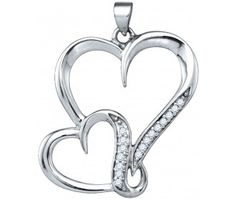 Diamond Two Heart Pendant Double Love Fashion Sterling Silver (0.10 ct.tw) #Diamond #fashion #Pendant #Jewelry jeweltie.com