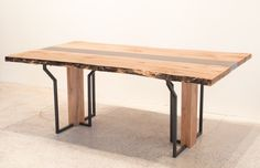 """maple and concrete table to """"the royal city"""" Concrete Table, Concrete Wood, Nordic Furniture, Clever Design, Nordic Design, Modern Industrial, Contemporary Design, Dining Bench, Hardwood"""