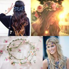 corona di fiori capelli per la ragazza al mare in estate 2014