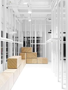 D&V Concept Store is a Retail project designed by Swedish architecture team Guise.  The volumetric interior is the result of duplicating every display surface 4 times, clever syncing a multi-level table, floating shelves on a console system and window platforms within this would-be shop. As described by the architects: