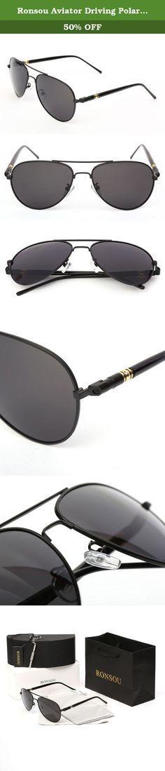 ee69ee2af93 Ronsou Aviator Driving Polarized Sunglasses Eyewear Glasses for Men and  Women black frame gray lens