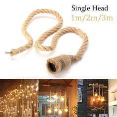 Retro Ceiling Lights, Ceiling Light Fixtures, Rope Pendant Light, Pendant Lamps, Rope Lamp, Cheap Lamps, Holiday Lights, Light Decorations, Ebay
