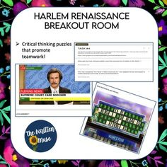 Harlem Renaissance Breakout Room by The Written Muse Virtual High School, Google Sign In, High School English, Critical Thinking Skills, Harlem Renaissance, American Literature, High School Students, Teamwork, Learn English