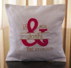 Mr. and Mrs. ring pillow custom in pink and silver Personalized with Surname wedding date. louise@heavenlygarters.co.za www.heavenlygarters.co.za Ring Pillows, Throw Pillows, Rings, Silver, Wedding, Valentines Day Weddings, Toss Pillows, Cushions, Ring
