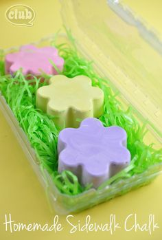 Flower shaped Spring homemade sidewalk chalk - great Easter basket gift idea or craft idea