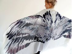 Wing scarf feather scarf / sarong with wings door ScarvesChrissyInk