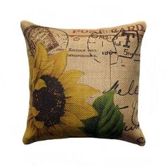 Features:  -French collection.  -Material: Burlap.  -Fill material: 100% Polyester.  -Comes with zipper closure.  -Made in the USA.  Product Type: -Throw pillow.  Color: -Yellow and green.  Style (Old
