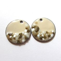 OxArtJewelry on Etsy - Beige enamel charms Handmade enamel copper earring charms Enameled copper disc findings  Unique artisan jewelry components Frit accents