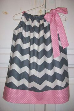 Items similar to Pillowcase Dress Chevron Dress Grey and Pink Dress Girls Dress with Mini Dots Birthday Dress baby dress toddler dress infant dress on Etsy Pillowcase Dress Chevron Grey with Pink Dots by lilsweetieboutique Little Girl Fashion, Little Girl Dresses, Kids Fashion, Girls Dresses, Summer Dresses, Baby Dresses, Toddler Dress, Toddler Outfits, Kids Outfits
