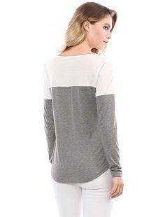 Allegra K Women s Split V-Neck Long Sleeves Color Block T-Shirt S Gray 89fd9f87e