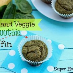 Fruit and Veggie Smoothie Muffin Recipe. All the goodness you normally pack into a smoothie, made into muffins! Super Healthy Kids, Healthy Meals For Kids, Kids Meals, Healthy Snacks, Healthy Eats, Healthy Fruits, Easy Meals, Muffin Recipes, Baby Food Recipes