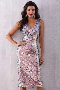 Sequins Work Deep V Elegant Party Dress 5681863e64d2