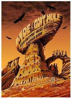 Original silkscreen concert poster for Moe and Gov't Mule at Red Rocks in Morrison, CO. 24
