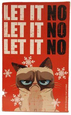 """Grumpy Cat 8"""" x 5"""" 3D Wall/Desk Block """"Let It No"""" Christmas Decoration"""
