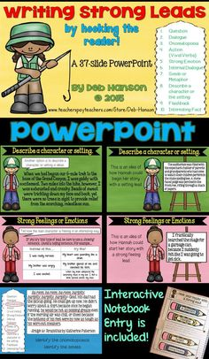 "This PowerPoint is ideal for a ""Writing Strong Leads"" minilesson! It includes 10 different styles (like a question, an onomatopoeia, describing the setting, an action, a metaphor/simile, and more!)"