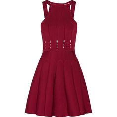 Cushnie et Ochs - Cutout Stretch-knit Mini Dress ($478) ❤ liked on Polyvore featuring dresses, claret, short dresses, frilly dresses, red cut-out dresses, red graduation dresses and cushnie et ochs dresses
