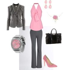 Outfit in grey and pink