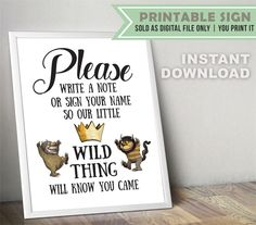 Where The Wild Things Are Guest Book // Party Sign // Digital File Only // INSTANT DOWNLOAD by BabyCollarPrintables on Etsy https://www.etsy.com/listing/514139401/where-the-wild-things-are-guest-book