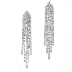 Long dangly diamante prom earrings