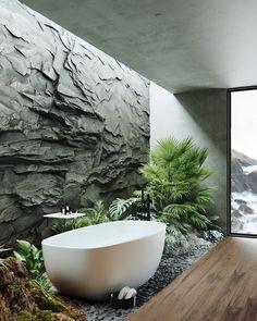 Natural Bathroom on Behance Home Room Design, Dream Home Design, House Design, Outdoor Bathrooms, Dream Bathrooms, Modern Interior Design, Interior Architecture, Design Interiors, Contemporary Architecture