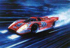 Auto Poster, Car Posters, Lemans Car, Carros Lamborghini, Cool Car Drawings, Le Mans 24, Porsche Motorsport, Classic Race Cars, Garage Art