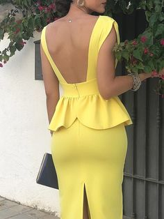 Solid Deep V-Neck Peplum Backless Bodycon Dress - Colorful Hair Medium Styles Dress Skirt, Peplum Dress, Bodycon Dress, African Fashion Dresses, African Dress, Trend Fashion, Fashion Outfits, Womens Fashion, Tight Dresses