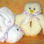 bunny, cupcake, and flower washcloth folding