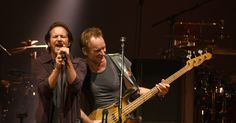 """Pearl Jam's Eddie Vedder sang the Police's """"Driven to Tears"""" with Sting and """"Red Rain"""" with Peter Gabriel in Seattle."""