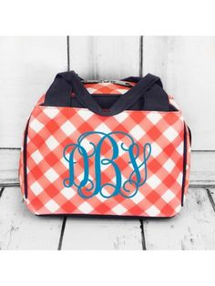 www.ewam.com Coral and White Diamond Gingham Insulated Bowler Style Lunch Bag with Navy Trim
