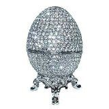 Faberge Egg Box Platinum Colored Swarovski Crystals, Silver with Stand Figurine Trinket Pill Jewelry Box