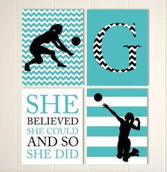 Girls volleyball wall art, volleyball room decor, girls motivational sports quotes, gift for girl, choose your colors and sports, set of 6 by PicabooArtStudio