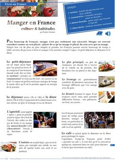 Manger en France French Verbs, French Phrases, French Teaching Resources, Teaching French, Food In French, French Basics, French Articles, French Practice, High School French