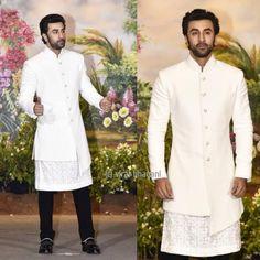 We hardly see smiling. Seen here at the wedding reception Wedding Dresses Men Indian, Wedding Dress Men, Party Dress For Man, Reception Party, Sherwani, Ranbir Kapoor, Menswear, Mens Fashion, Coat