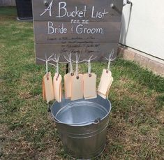 A Bucket List for a Bridal Shower or Wedding Reception from a deconstructed ship. A Bucket List for a Bridal Shower or Wedding Reception from a deconstructed shipping pallet. Take a tag and give the new husband and wife some suggestions for their own Cute Wedding Ideas, Perfect Wedding, Dream Wedding, Fall Wedding, Elegant Wedding, Diy Wedding Games, Games For Wedding Reception, Trendy Wedding, Rustic Wedding Games