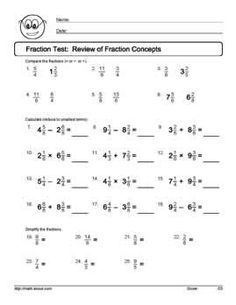 math worksheet : do your students get fractions find out with these tests and  : Fraction Test Worksheet