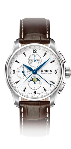 Chronograph with moon phase with leather strap. Union Glashuette