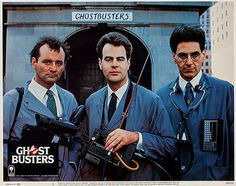 Bill Murray, Dan Aykroyd and Harold Ramis photo with the Ghostbusters logo on the bottom left