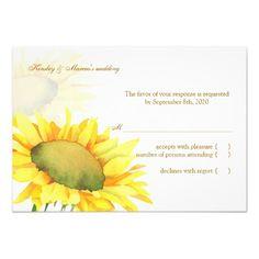 Yellow Sunflower Fall Wedding RSVP (3.5x5) Inviteshttp://www.zazzle.com/yellow_sunflower_fall_wedding_rsvp_3_5x5_invites-161074803823853962