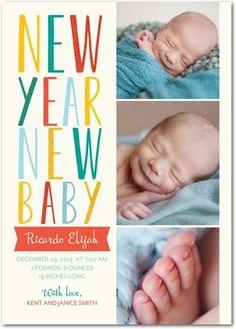 Newfound Joy - Winter Boy Birth Announcements - Ann Kelle in Blaze Orange. #baby
